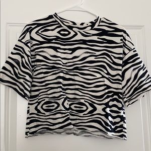 Grayson Threads Zebra Striped Crop Top - Size SM